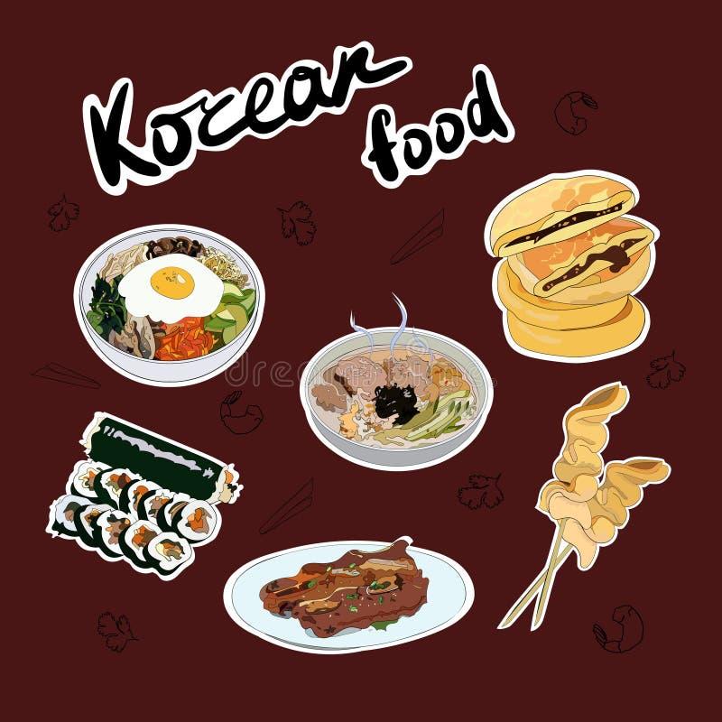 Set tradycyjny koreańczyk rozdaje majcherów Bibimbap, guksu, gimbap, oden, gui, hotteok ilustracji
