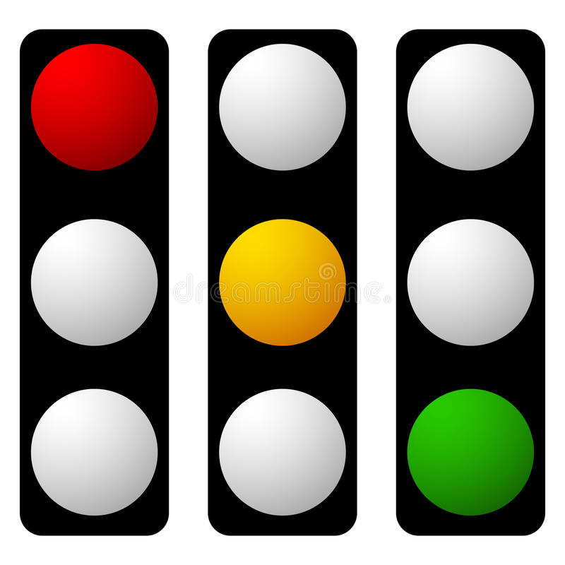 Set of traffic lamp, traffic light, semaphore icons royalty free illustration