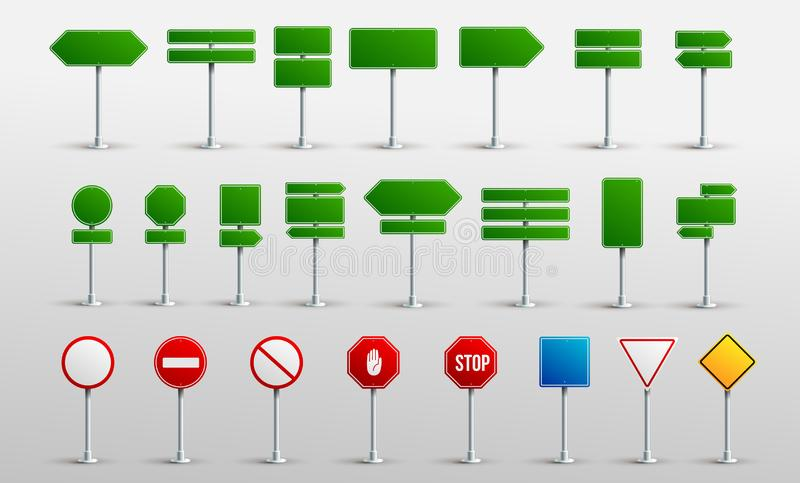 Set Of Traffic Road Realistic Signs. Signage Signal Warning Sign Stop Danger Caution Speed Highway Empty Parking Street Board. royalty free illustration