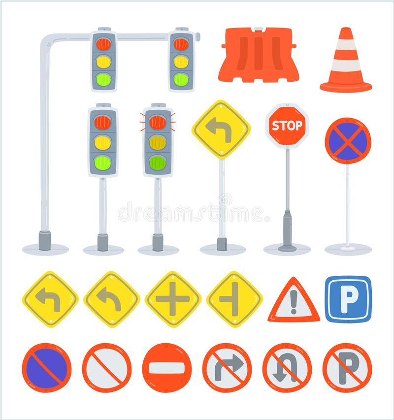 Set of traffic sign equipment. Traffic light, plastic barriers, traffic cones, traffic sign, road sign, objects with white background, cute vector cartooning vector illustration