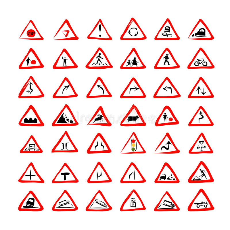 Set of 42 traffic signs sketch for your design