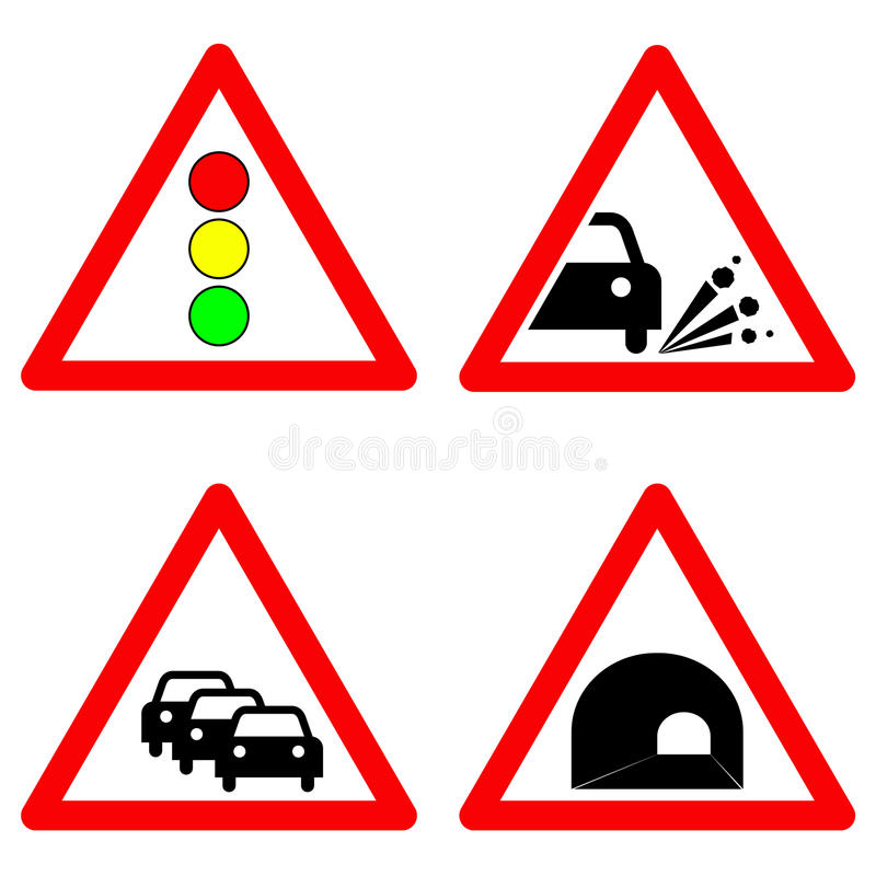 Set Of Traffic Signs Traffic Lights Gravel Road Traffic Jam