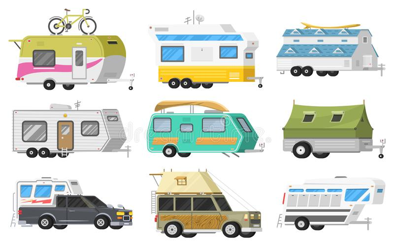 A set of trailers or family RV camping caravan. Tourist bus and tent for outdoor recreation and travel. Mobile home. Truck. Suv Car Crossover. Tourist transport vector illustration