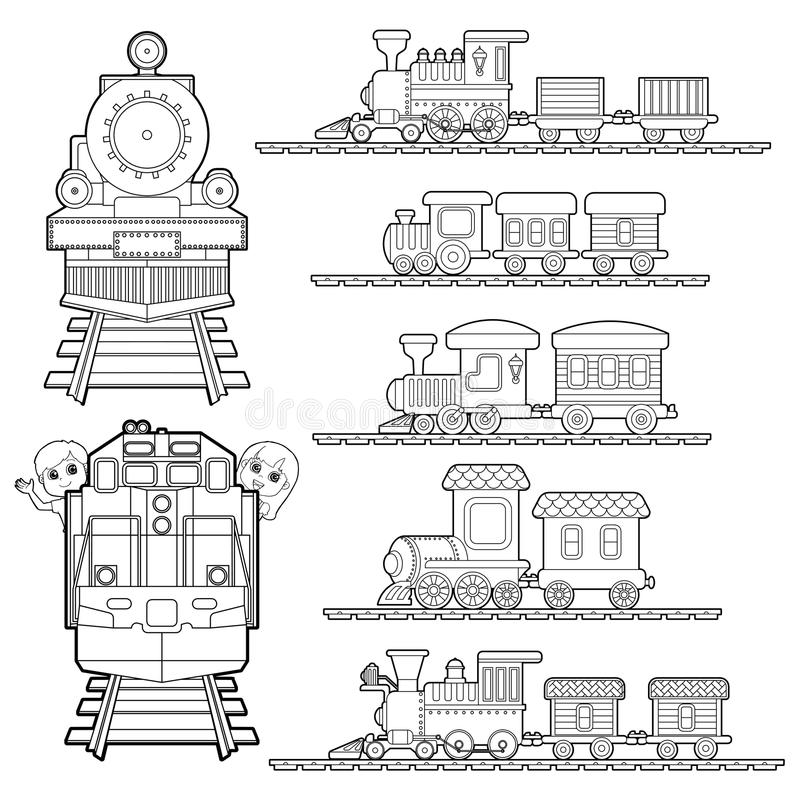 Set of Train cartoon , train travel with kids and friend coloring page for toddler vector vector illustration