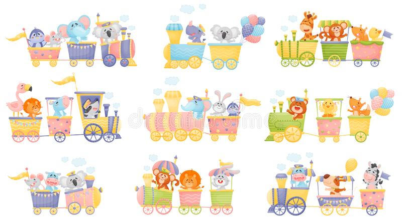 Set of trains and cars with animals. Vector illustration on a white background. stock illustration
