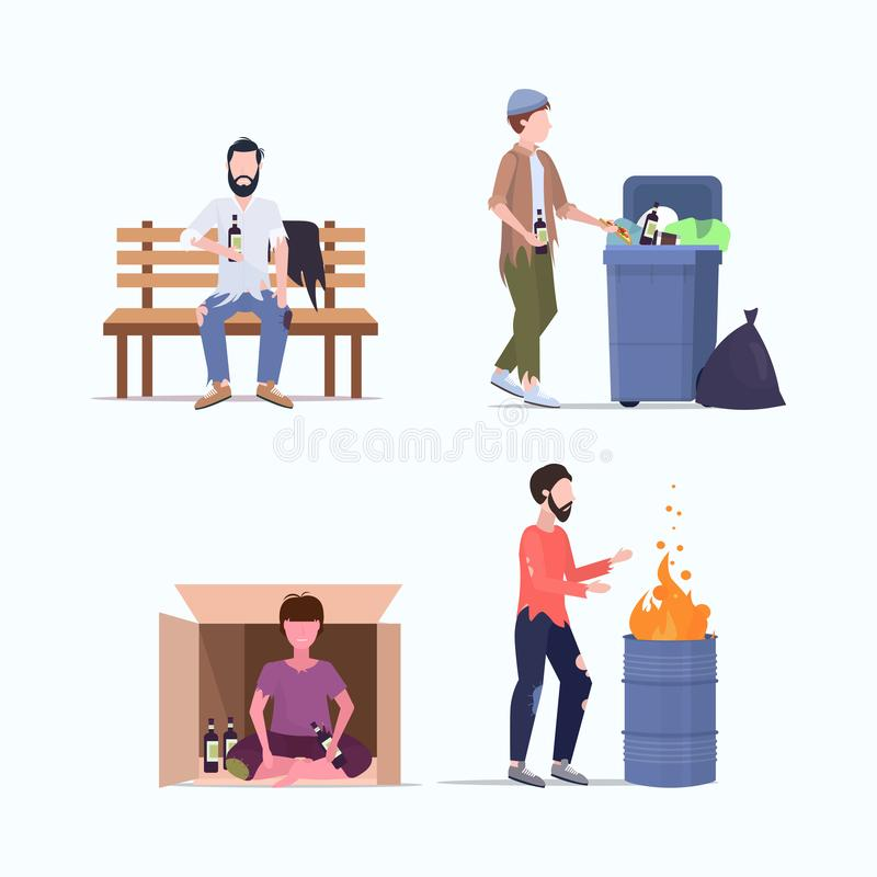 Set tramps poor homeless characters needing help different beggars unemployment men homeless jobless concepts collection vector illustration