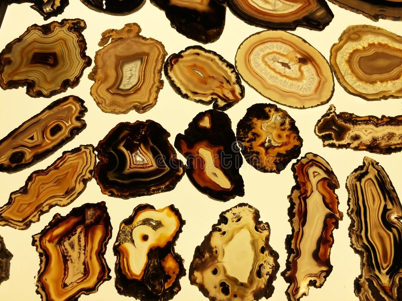 Set of translucent Agate on bright background. In Italy royalty free stock images