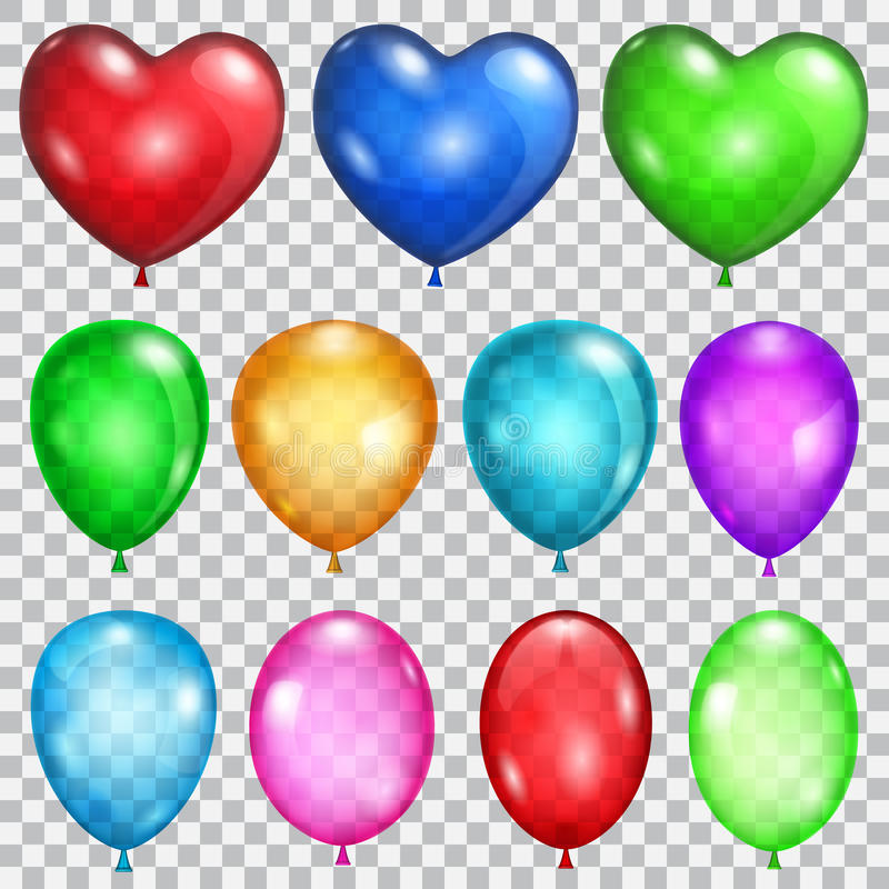 Set of transparent balloons. In various colors royalty free illustration