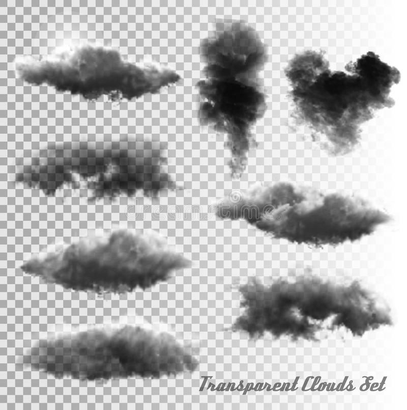 Set of transparent clouds and smoke. vector illustration