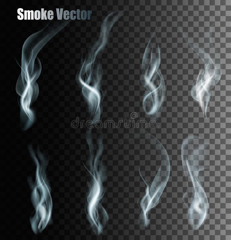 Set Of Transparent Different Smoke Vectors. Vector stock illustration