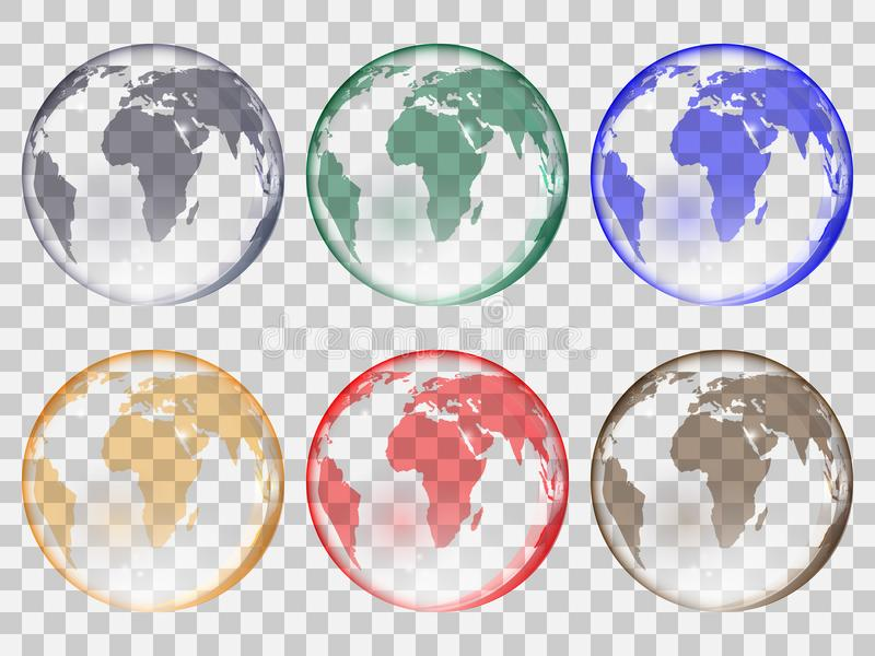 Set of transparent glass balls in the form of planet earth of different colors. royalty free illustration