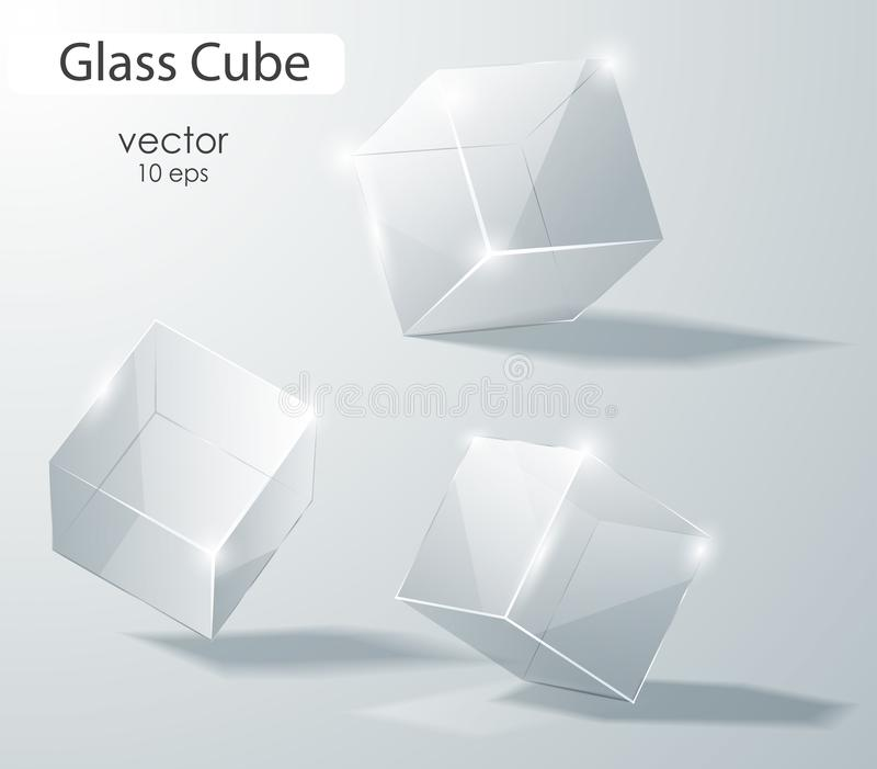Set of transparent glass cubes in different angles. Geometric surfac. Rotate the cube. Vector illustration. Set of transparent glass cubes in different angles vector illustration