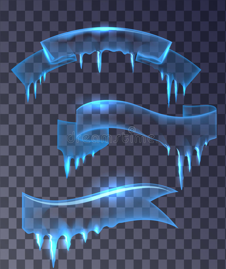 Set of transparent ice banners ribbons. stock illustration