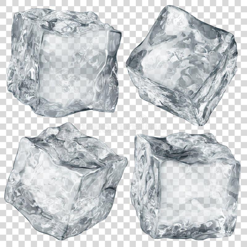 Set of transparent ice cubes vector illustration