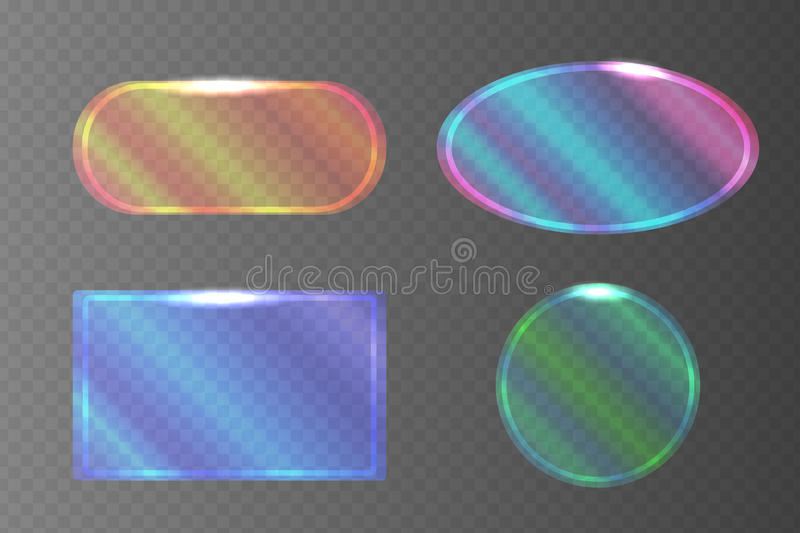 Set of transparent pearlescent banners of different shapes. Vector element for your design royalty free illustration
