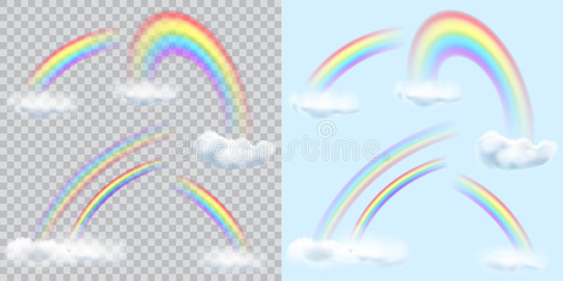 Download Set Of Transparent Rainbows With Clouds On And Light Stock Vector
