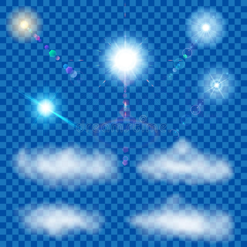 Set of transparent suns and clouds vector illustration