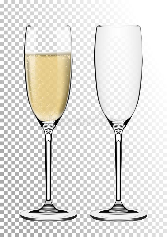 Set transparent vector champagne glasses empty, with sparkling wine. Vector illustration in photorealistic style. stock illustration