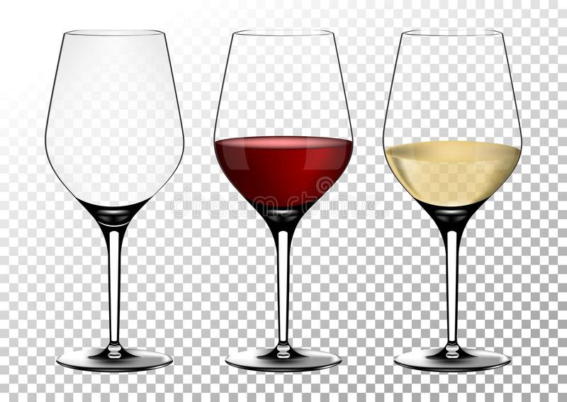 Set transparent vector wine glasses empty, with white and red wine. Vector illustration in photorealistic style. stock illustration