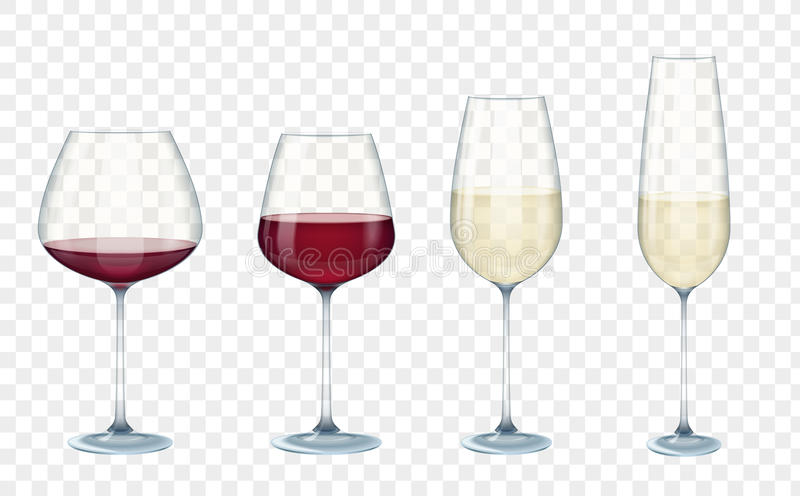 Set transparent vector wine glasses with white and red wine on the alpha transparent background. Vector illustration. stock illustration