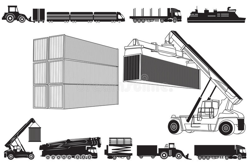 Set of Transport icons and Transport concept. Vector illustration of loading and Transport concept, containers and transportation. Set of Transport icons stock illustration