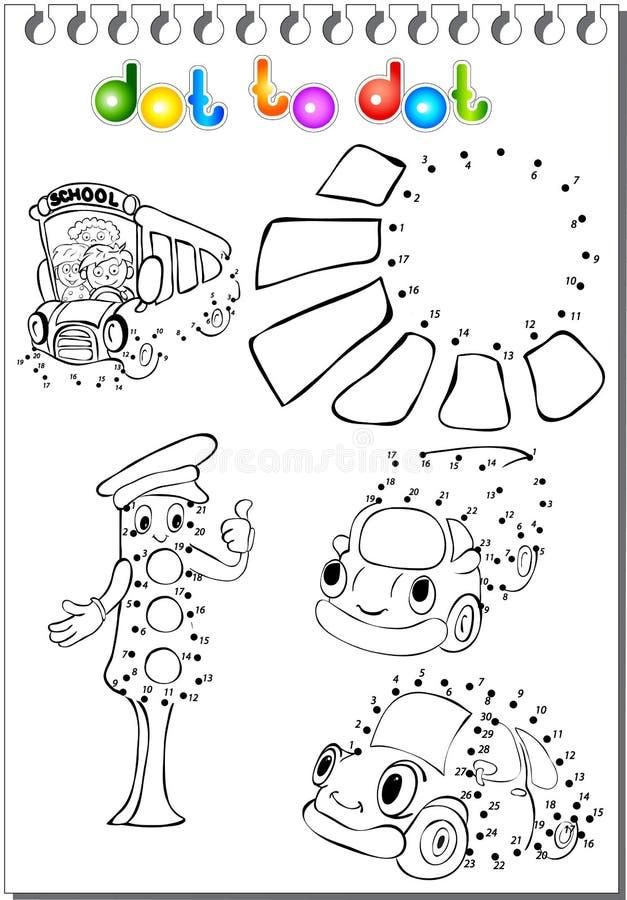 Set transport kropka kropkować ilustracja wektor