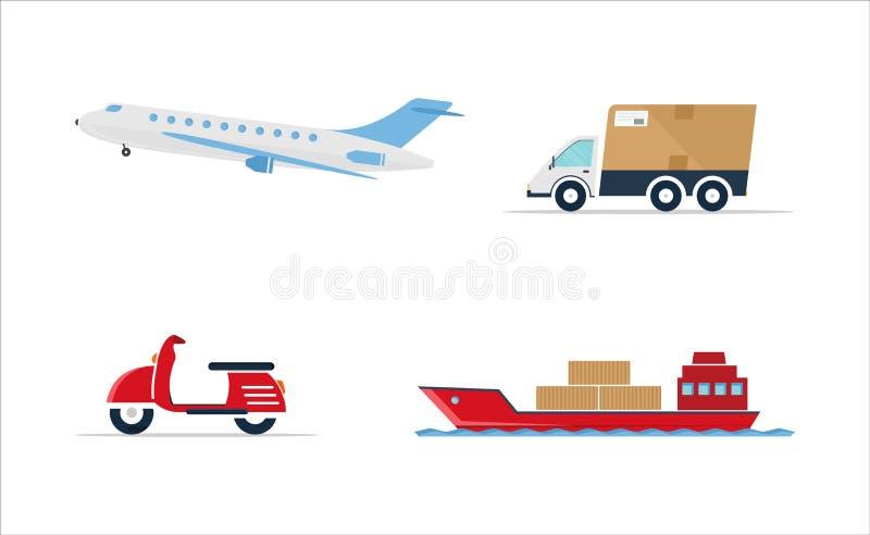 Set transport - samochód, statek, samolot, hulajnoga zdjęcie royalty free