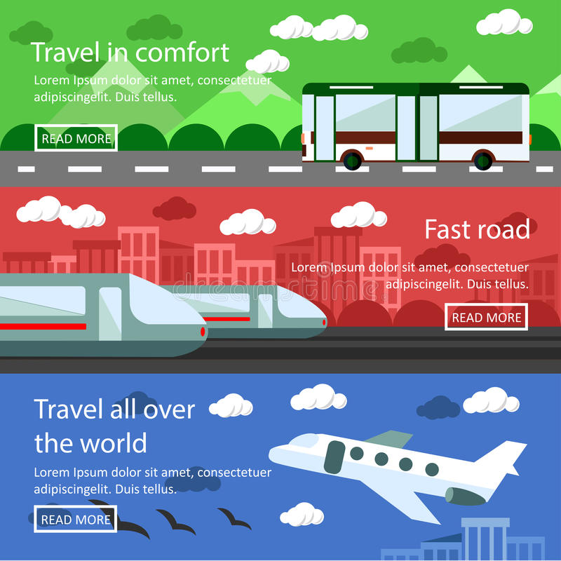 Set of transportation banners in flat design. Logistics and delivery concept vector. Bus, train, air transport royalty free illustration