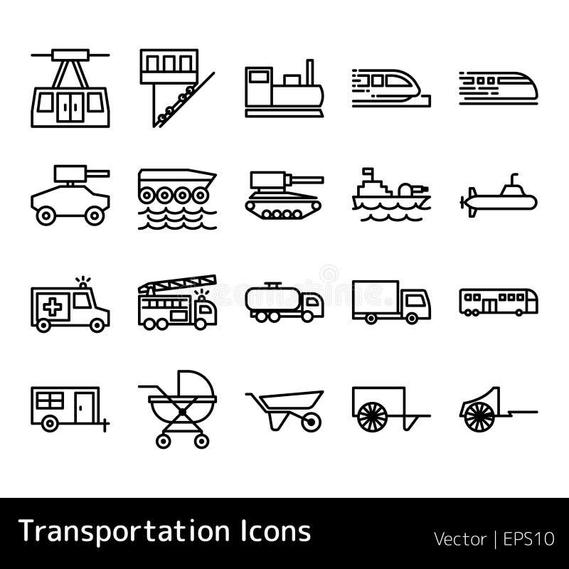 Set Of Transportation Icons isolated. On white background. simple illustration design royalty free illustration