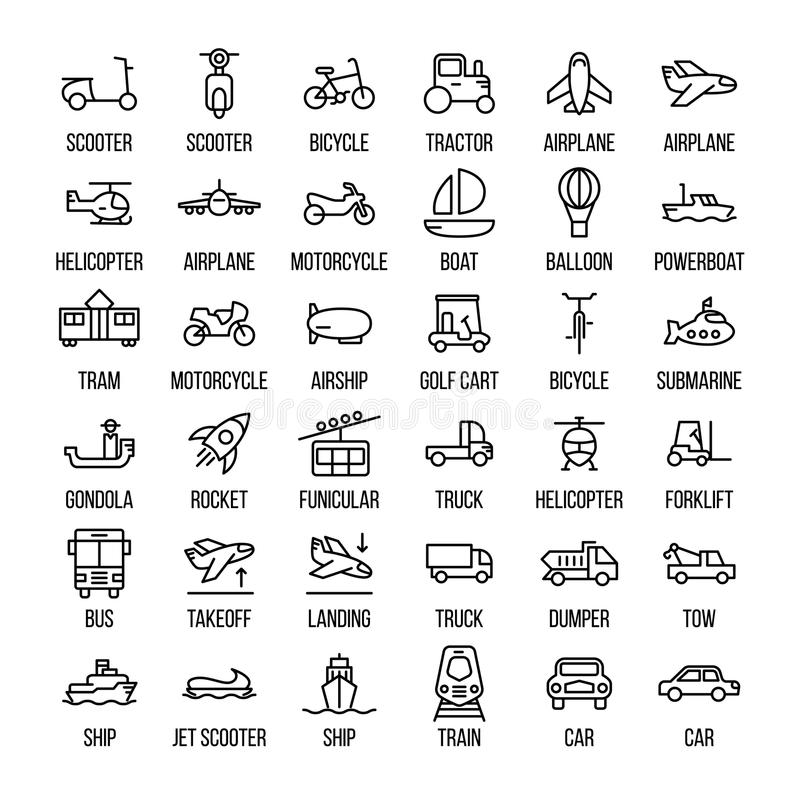 Set of transportation icons in modern thin line style. royalty free illustration