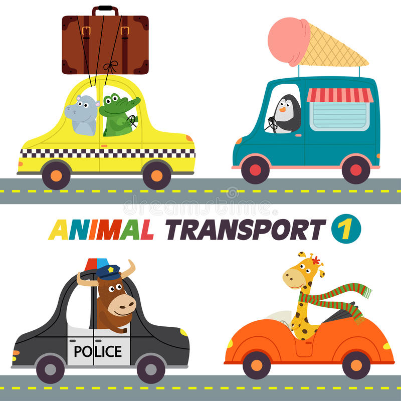 Set of transports with animals part 1 stock illustration