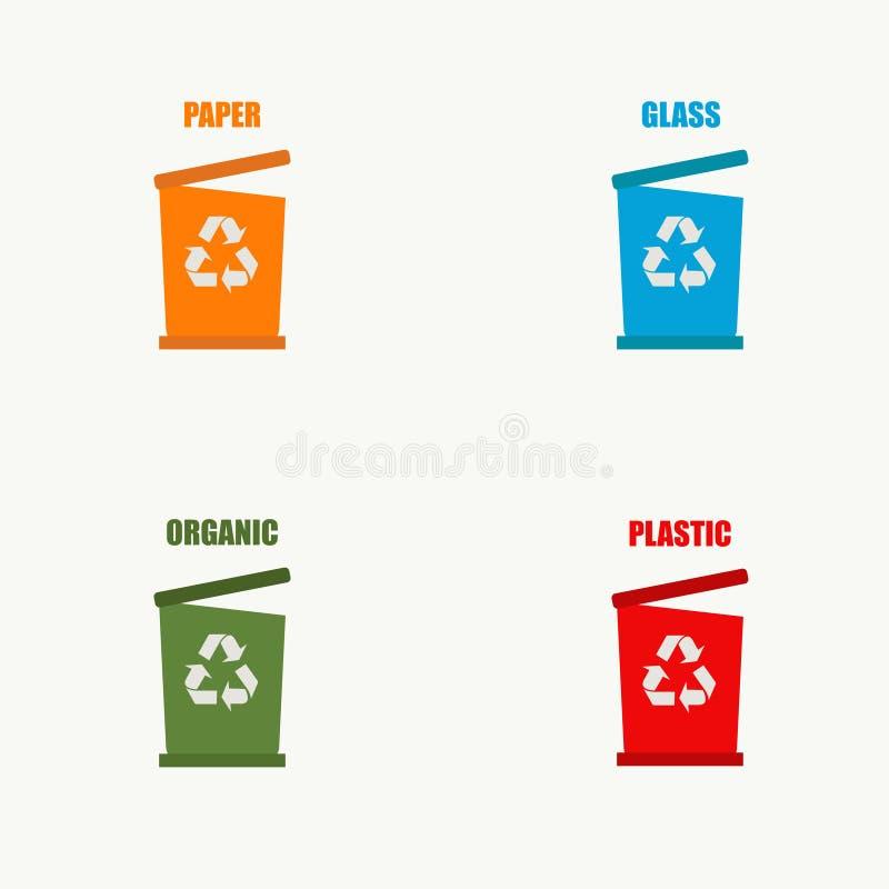 Set of trash can. Waste .Trash cans. Vector illustration. EPS 10 royalty free illustration