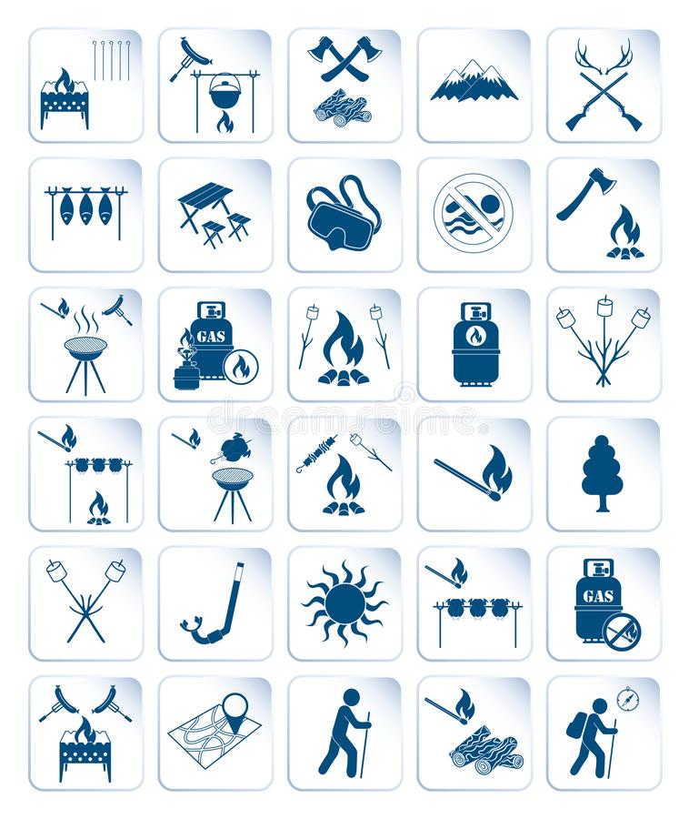 Set of travel and camping equipment icons. Vector illustration stock illustration