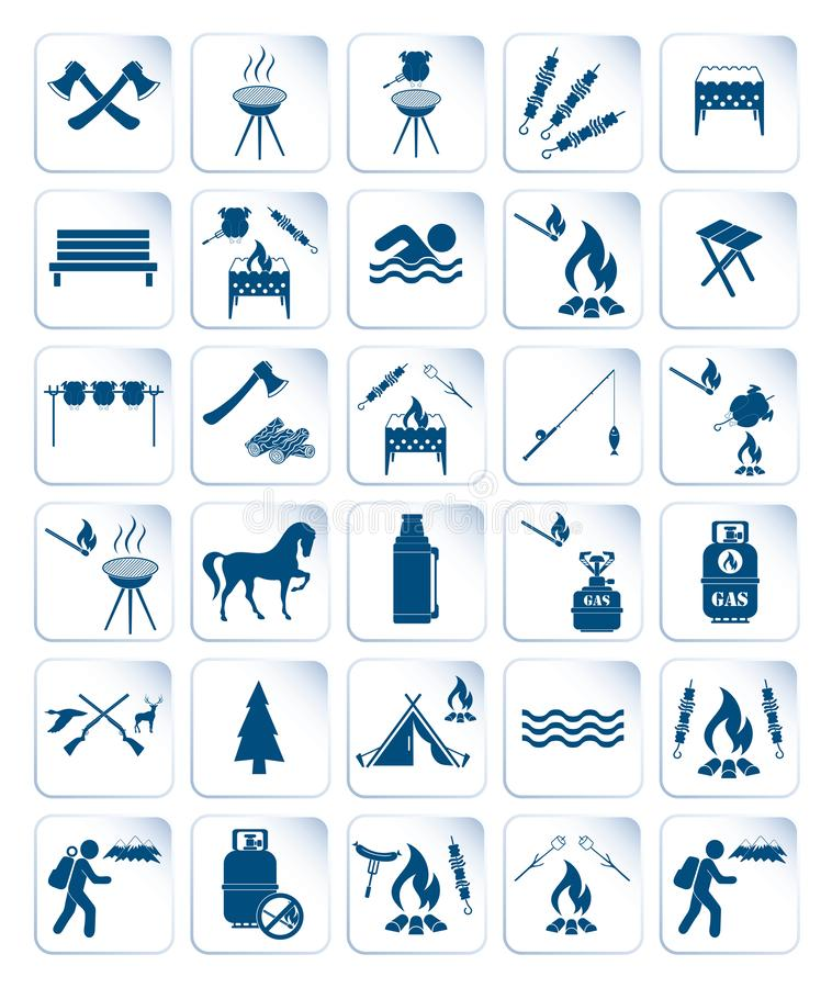 Set of travel and camping equipment icons. Vector illustration royalty free illustration