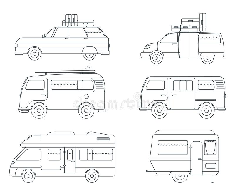 Set of Travel Car Icon. Concept for Outdoor and Hike Trip. Outline Style. Travel Symbol, Logo, Icon and Badge. Simple Vector. Illustration royalty free illustration