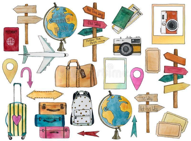 Set of travel elements with airplane, globe, signpost, geo, passport, bags, tickets, cameras, arrows. Hand drawn watercolor illustration vector illustration