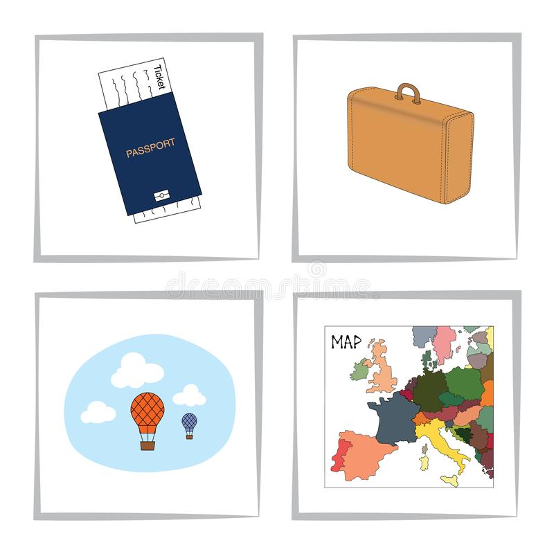Set of travel elements. Blue passport with a ticket, suitcase, map of europe, hot air balloons in the sky. Vector royalty free illustration