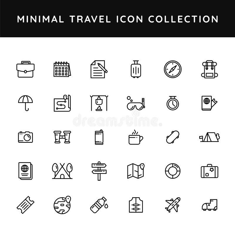 Set of travel icon in black line art stock illustration