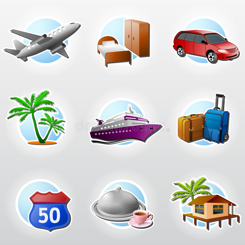 Set of travel icons. Ð¡ollection of colored icons for tourism and vacation. Qualitative vector (EPS-10) symbols about travel, tourism, vacation, trip, booking vector illustration