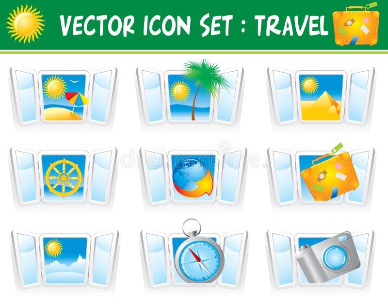 Set Travel Icons Stock Photography