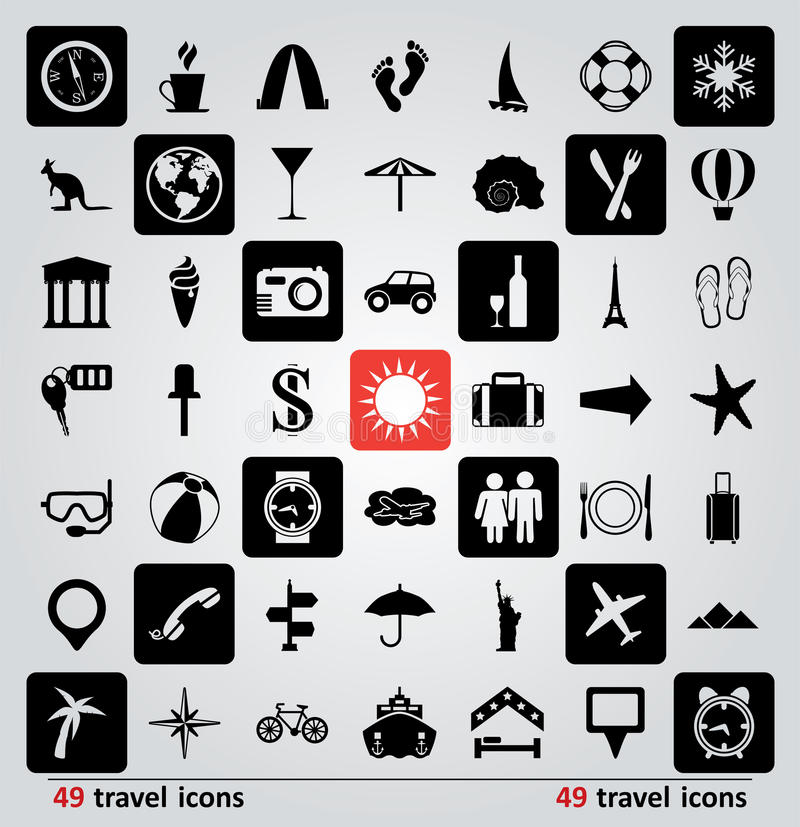 Download Vector set of travel icons stock vector. Image of compass - 32639503