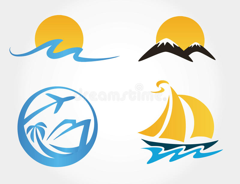 Set Of Travel Icons Mountains, Waves, Yacht Royalty Free Stock Photos