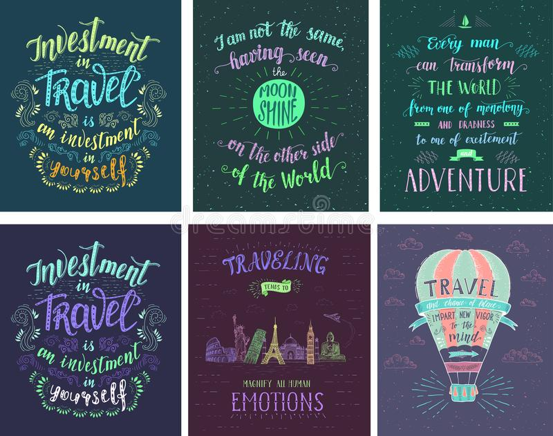 Set of travel posters. Vector hand drawn illustrations for t-shirt print or posters with hand-lettering quotes. Motivation phrases. Color banners for tourism vector illustration