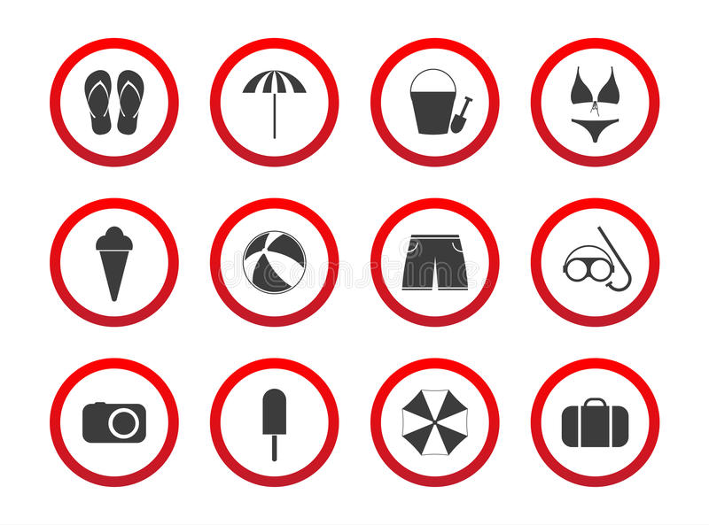 Set of travel prohibition icons, beach restriction signs, icon s vector illustration
