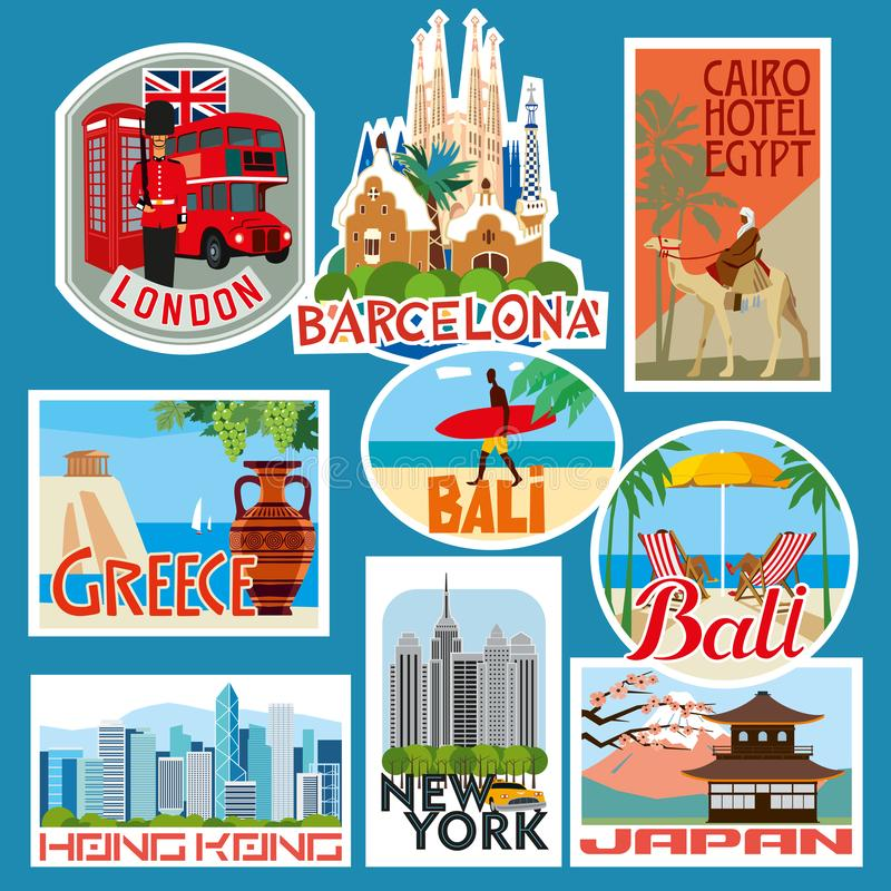 Set of travel stickers. Countries of Asia, Europe and Africa. Vector color graphics stock illustration