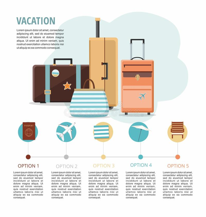Set of Travel suitcases on white background. Vacation. Vector infographic royalty free illustration