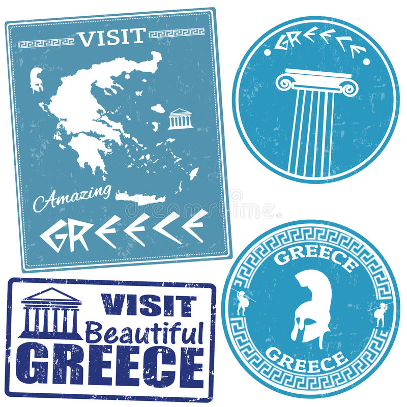 Download Set Of Travel To Greece Stamps Stock Vector - Image: 31337276