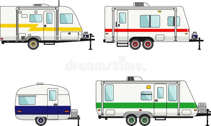 Set of travel trailer caravans on a white stock illustration
