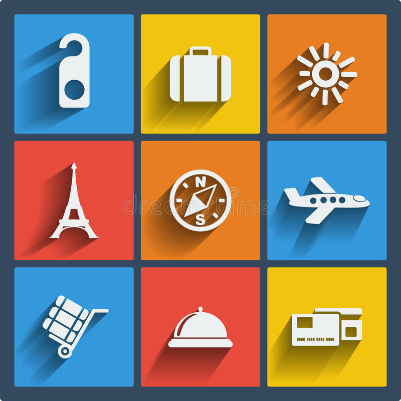 Set of 9 travel web and mobile icons. Vector. royalty free stock photography