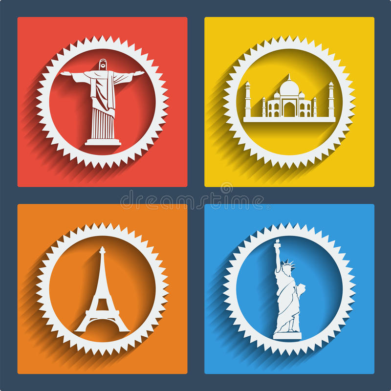 Set of 4 travel web and mobile icons. Vector. Set of 4 vector travel web and mobile icons in flat design. Brazil, India, New York, Paris. Jesus statue, Liberty royalty free illustration